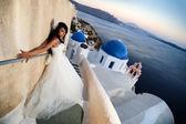 Nevěsta v santorini — Stock fotografie