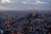 Panoramic view of Paris at sunset — Stock Photo