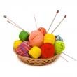 Basket with yarn — Stock Photo
