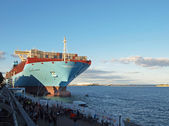 Biggest container ship majestic maersk — Stock Photo