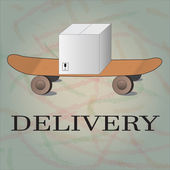 Delivery goods with dolly, skateboard — Vetorial Stock