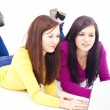Girls in front of laptop — Stock Photo