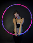 Fitness woman with hula-hoop — Stock Photo