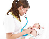 Baby examination with stethoscope — Stock Photo