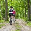 Girls biking in the forest — Stock Photo #27361405