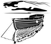 Fisherman boat — Stock Vector