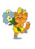 Cat with a bunch of flowers — Stock Vector