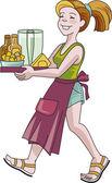 Girl waiter — Stock Vector