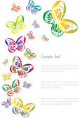 Vektorové pozadí s motýly siluety — Stock vektor