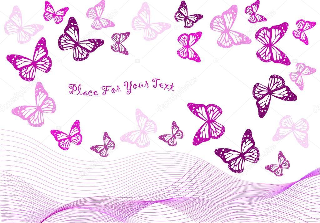 Modello vettoriale con sagome di farfalla e onde for Sfondi con farfalle