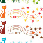 Four seasons symbols — Stock Vector