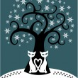 Vector christmas card design with tree and cats — Imagen vectorial