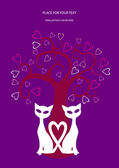 Valentine card design with cats, hearts and tree — Stock Vector