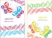 Cards with lines,waves and colorful butterflies — ストックベクタ