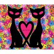 Funny illustration with couple of cats in love isolated on floral background - Stock Vector