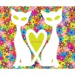 Funny illustration with couple of cats in love isolated on floral background — Stock Vector
