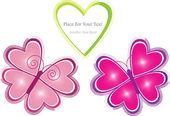 Kelebekler ve kalp ile vektör düzeni — Stok Vektör