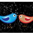 Two glossy color birds — Stok Vektör #23784875