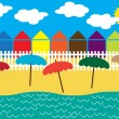 Retro summer vector background with cottage houses on the beach — Stock Vector