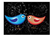 Two glossy color birds — Stock Vector