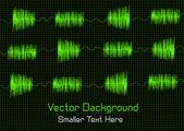 Technisches konzept mit klang der musik kurven auf monitor — Stockvektor