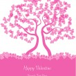 Vector valentine background with tree and hearts — Image vectorielle