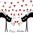Valentine card design with cats and hearts — Stock vektor