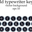 Set of old typewriter keys isolated on white background — Stock Vector #23948967