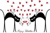 Valentine card design with cats and hearts — Vector de stock