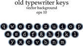 Set of old typewriter keys isolated on white background — Stock Vector
