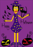 Halloween card with funny witch — Vector de stock