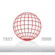 Stock Vector: Vector concept with dimensional grid ball