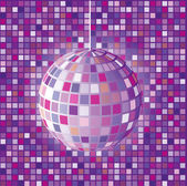 Retro disco ball isolated on tiles background — Stock Vector