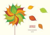 Sonbahar arka plan rengi yaprakları ile — Stok Vektör