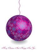 Vector christmas card design with three dimensional ball — Stock Vector