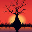 Romantic vector illustration with tree in silhouette and sunset - Stock Vector
