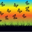 Romantic vector background with butterflies and meadow — Imagen vectorial