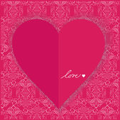 Vintage valentine card design with heart and wallpaper ornaments — Stock Vector
