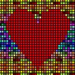 Abstract vector background with squares heart — Stock Vector