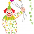 Happy birthday card with funny clown — Stock Vector