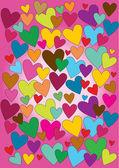 Valentine patchwork hearts design — Stock Vector