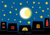 Good night! cartoon vector concept — Stock Vector