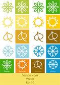 Four seasons icons — Stock Vector