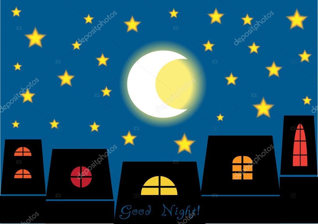 Desenho De Boa Noite: Good Night! Cartoon Vector Concept