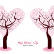 Romantic,valentine trees — Stock Vector