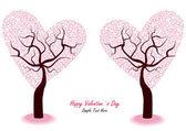 ロマンチックなバレンタインの木 — ストックベクタ