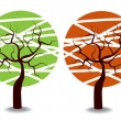 Four seasons trees — Stock Vector