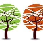 Four seasons trees — Stock Vector