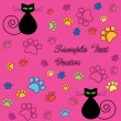 Funny cartoon valentine card with cats and paw prints — Imagen vectorial