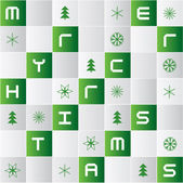 Vector christmas background with glossy tiles and winter icons — Stock Vector